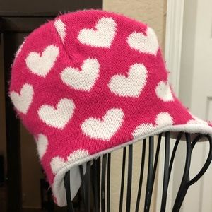 Other - Pink Hat with white hearts